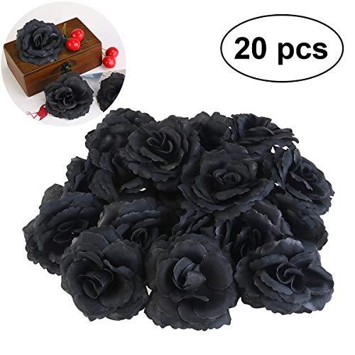 WINOMO 20pcs Seide Rose Blume Köpfe schwarz künstliche für DIY Party Hochzeitsdekoration (Schwarze Seide Rosen)