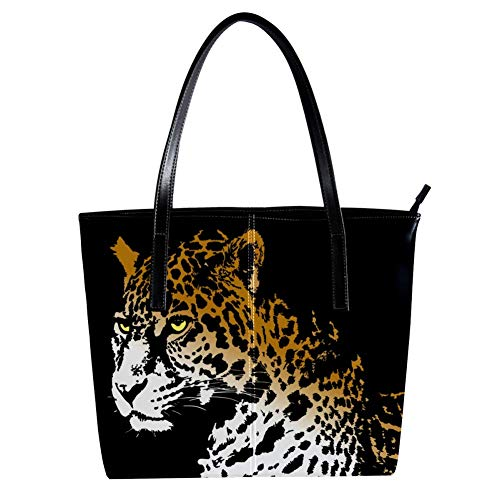 Tote handbag with Animal Jaguar print Zipper Purse PU Leather Top-handle Zip Bags ()
