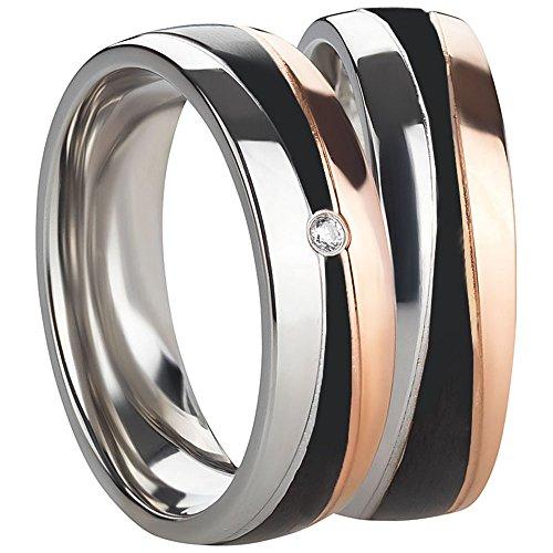 1 Paar Partnerringe zur Verlobung Trauung Hochzeit Freundschaft- Eheringe aus Chirugenstahl - Damenring mit Zirkonia Stein inkl. Gravur