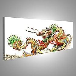 Cuadro Cuadros Dragón asiático en un fondo blanco Impresión sobre lienzo - Formato Grande - Cuadros modernos