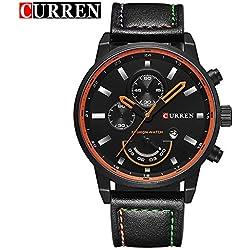 CURREN Quartz Analog Men's Watch with Black Leather Strap Calendar Wrist Watch 8217G
