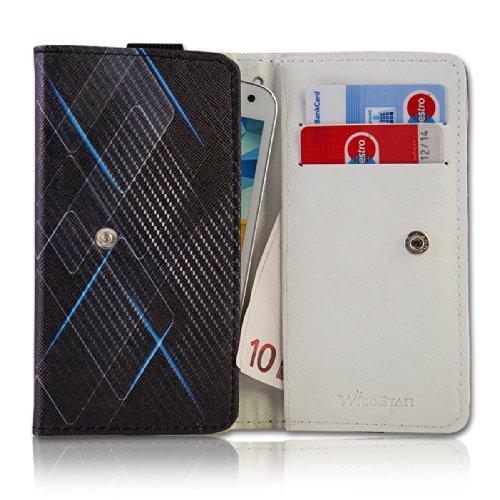 Handy Tasche Fliptasche Flip Book Etui Hülle Case Kunstleder schwarz / blau - Carbon Design book7-3 für Motorola RAZR Maxx / ZTE Tania / Mobistel Cynus T1 / LG Optimus L9 P760 / LG Optimus G E973 / Samsung Ativ S / HTC One S / Asus Pad Phone / Nokia Lumia 920 / HTC One X Plus / HTC One X + / HTC One
