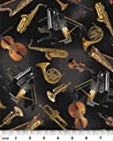 Fat Quarter Concerto 'Tossed Instruments'Blk, Baumwolle, 50