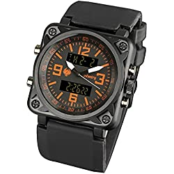 INFANTRY® Mens Analogue - Digital Wrist Watch Chronograph Alarm Date Stopwatch Black Rubber Strap