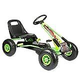 """bopster® Coche de pedales """"Go-Kart"""" con ruedas hinchables para niños 5-8 años - Verde/Negro"""