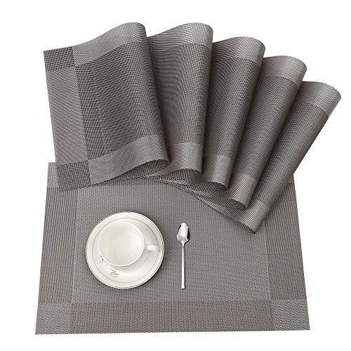 Tischset, Platzset 6er set Rutschfest Abwaschbar PVC Abgrifffeste Hitzebeständig Platzdeckchen für Zuhause Restaurant Speisetisch(Braun / Silber) (Tisch Matten Set 6)