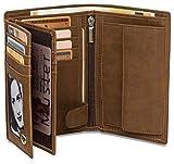 Geldbeutel Hochformat - 15 Kartenfächer TÜV geprüft - RFID Schutz – Großes Münzfach - Ideal als Geschenk für Herren - Geldbörse groß in braun mit Edler Geschenkbox – Elephant