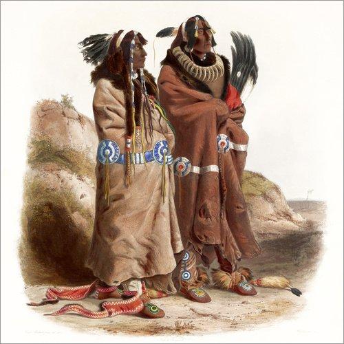 Traditionellen Kostüm Staaten Vereinigten - Posterlounge Alubild 80 x 80 cm: Maksic Karehde und Sih Chida Zwei Mandans von Karl Bodmer