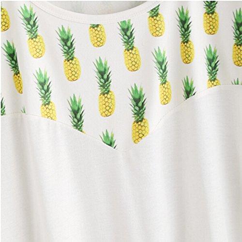 Longra Donna T-shirt in stampa ananas Bianca