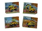 4 Stück Bausteine Set Baustellenfahrzeuge, 4 verschiedene Modelle Fahrzeuge, 27 - 33 Teile Bausatz, Konstrucktionssteine, Konstrucktionsset