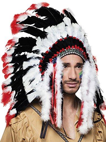 Boland 44139 Haarschmuck Indianer Apache, Unisex-Erwachsene, One Size Weiße Indianer-häuptling Hat