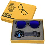 #5: CASADO BLACK SLIM Series Round Analog Wrist Watch and 1 Blue Reflector Wayfraer Sunglasses for Men's AND Boy's