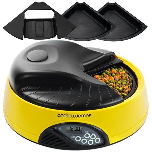 *Andrew James – Programmierbarer Automatischer Futterautomat Haustierfütterer für 4 Tage oder 4 Mahlzeiten In Gelb – Mit Sprachaufnahme-Funktion – Inklusive 2x Volumenreduzierer + 1 Adaptereinsatz*