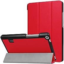 Bloomy Shop HUAWEI MediaPad T3 7.0 Custodia- Con Cover Magnetica Ultra Sottile e Leggera Con Chiusura Magnetica per HUAWEI MediaPad T3 7.0 Inch Tablet(Rosso)
