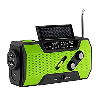 Emergency Radio, ABEDOE NOAA Weather Radio Solar Power Hand Crank USB Charge Radio, Flashlight SOS Alarm 2000 mAh Power Bank Multi-purpose for Camping, Travel, Outdoor Activities (Green)
