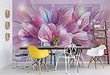 Wallsticker Warehouse Blumen Natur Rosa Lila Fototapete - Tapete - Fotomural - Mural Wandbild - (762WM) - XXL - 312cm x 219cm - VLIES (EasyInstall) - 3 Pieces