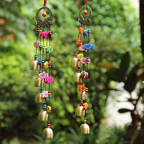 Gazechimp Chinesische Stil Windspiel Kupfer Glocken mit Bunte Fische Garten Balkon Deko