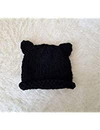 REIA Bebé niños Cálidos Sombreros de Invierno Gorro de Lana de Punto con  Orejas de Gato Lindo para niños 6… 459be15602d