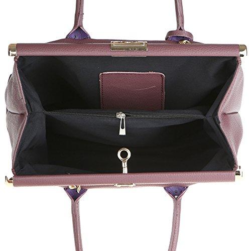 Chicca Borse Frau Handtasche mit Schultergurt aus echtem Leder Made in Italy 35x28x16 Cm Pflaume