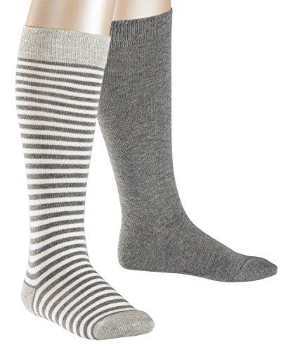 ESPRIT Mädchen Kniestrümpfe Stripes, 2er Pack, Mehrfarbig (Light Greymeliert 3390), 35-38 (Kinder-kniestrümpfe)