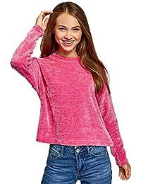 oodji Ultra Mujer Suéter de Felpilla con Cuello Redondo