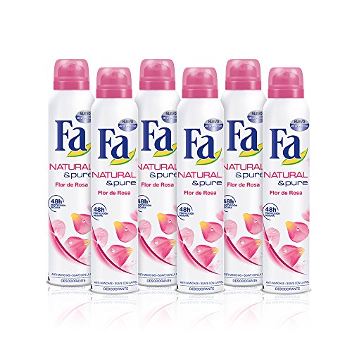 FA Déodorant Spray Naturel et Pure Fleur de Rose - Lot de 6