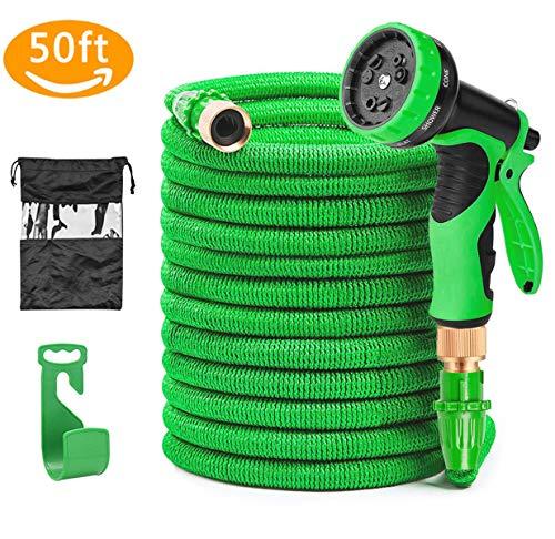 Soar Flexibler Gartenschlauch, 15M 50FT Auslaufsicheres Design FlexiSchlauch Dehnbar 9 Funktion mit Aufhänger für Bewässerung Gartenarbeit Autowäsche Reinigung