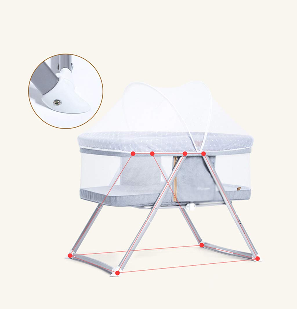 Multifunction Baby Cot, Mosquito Net Metal Foldable Space Saving Shaker Bedside Travel Bed, 54 * 91 * 66CM (Color : Gray) Zhao ♥ Product Name: Multifunctional crib / / Size: 54 * 91 * 66CM / / Material: cloth; ♥Characteristics: widening and widening, high fence, no need to worry about naughty baby turning over, easy to install, one-handed one-button storage, fine-woven high-density linen, not easy to wrinkle, encrypted polyester mosquito net, high-molecular alumina thickened tube, Strong bearing capacity; ♥Bionic uterus design, give your baby enough safety, let the baby sleep sweetly; 6