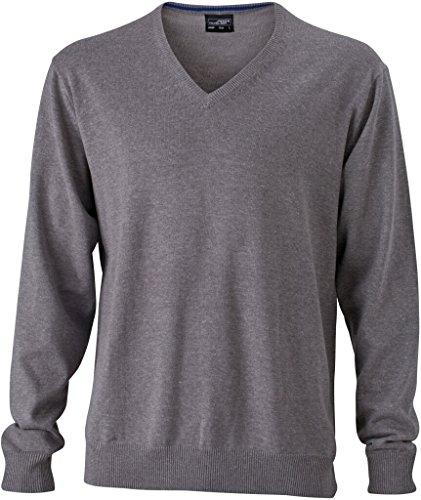 JAMES & NICHOLSON Klassischer Baumwoll-Pullover grey-heather