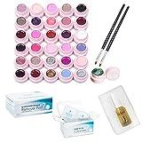 Gel-Nagellack-Set aus 30 Farben mit 2 Bürsten + 200 Entfernerpads + 100 Reinigungspads + 1 Nagelhautöl für UV/LED-Maniküre Semi-Permanent-Nagellack-Nailart-Kit