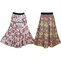 Mogul Interior Boho Chic Womens Hippie Skirt Printed Tiered Flared Maxi Skirts Wholesale 2 Lot