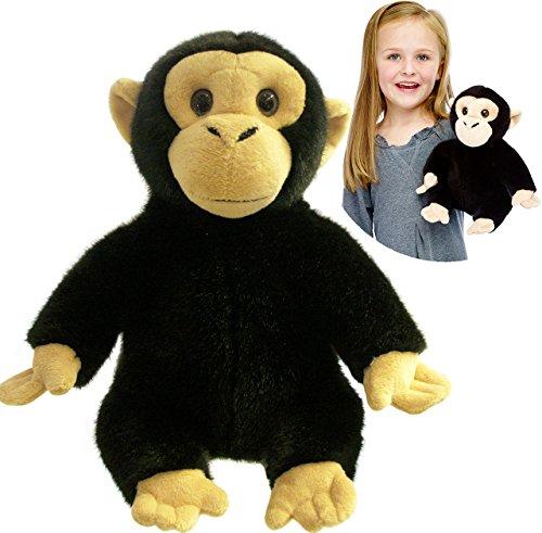 alles-meine.de GmbH große Handpuppe / Handspielpuppe -  schwarzer AFFE - Schimpanse  - ganzer Körper - 35 cm - Arme & Beine sind beweglich - superweich - Handpuppen Kasperlethe.. (Augen Große Handpuppe Affe)