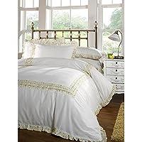 Universal TextilesSienna Floral Frill Duvet Cover Bedding Set (Single Bed) (Lemon)