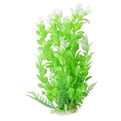 """Uxcell 9.3"""" Height Ceramic Base Plastic Aquarium Plant Green White 1"""