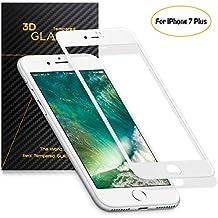 SENDIS Protector de Pantalla para iPhone 7 Plus Cobertura Completa, Cristal Templado, color blanco