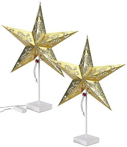 Lunartec Deko-Stern-Leuchten: 2er-Set Deko-Tischleuchte in Sternform, Gold (LED-Deko-Sterne)