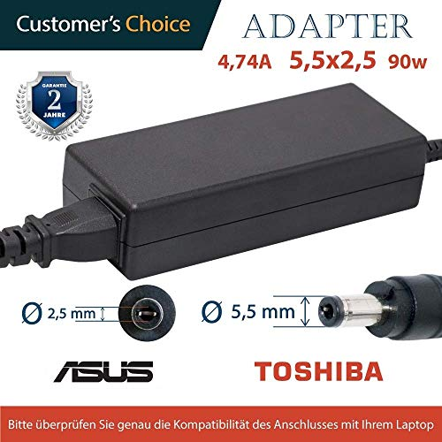Laptop Netzteil (Laptop Netzteil 4.74A 5,5x2,5 19v 90w | Ladekabel für die Laptops ASUS, Toshiba | 2 Jahre Garantie auf das Laptop-Ladegerät | asus ladekabel)