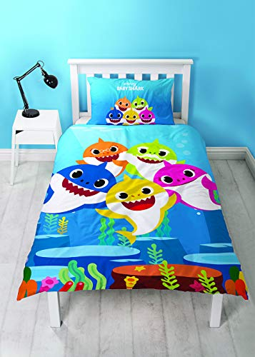 Baby Shark Song Single Duvet Cover Family Design Reversible Two Sided Blue Official Bedding Duvet Cover With Matching Pillow Case Best Price and Cheapest