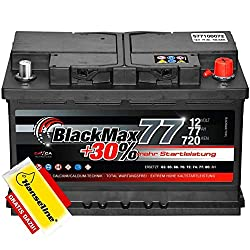 Autobatterie 12V 77Ah BlackMax 30% mehr Leistung statt 70Ah 72Ah 74Ah 75Ah inklusive Polfett