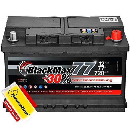 Autobatterie 12V 77Ah BlackMax 30{29773feb787f2fe650494af3d85833f443b3681582aae506072735ad237f31ec} mehr Leistung statt 70Ah 72Ah 74Ah 75Ah inklusive Polfett