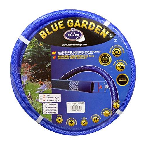 "S&M 553103 Manguera de jardinería Reforzada Blue Garden 15 Metros, Azul, Rollo 19 x 25 mm-(3/4\"")"