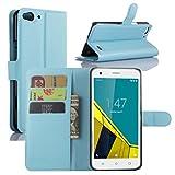 Vodafone Smart Ultra 6 Hülle, HualuBro [Standfunktion] [All Aro& Schutz] Premium PU Leder Wallet Tasche Schutzhülle Case Flip Cover mit Karten Slot für Vodafone Smart Ultra 6 Smartphone (Blau)