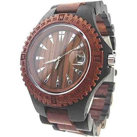 HopCentury legno naturale orologio unisex del quarzo