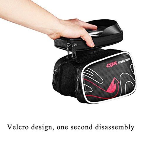 CBR Moutain Bike Oberrohrtasche Fahrradtasche Rahmentasche Handytasche 6.0 Zoll Mit Touch Screen TPU Wasserfest Einfach zu Installieren Grau