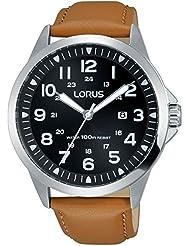 Lorus para hombre correa de piel marrón negro Dial acero inoxidable caso rh933gx9