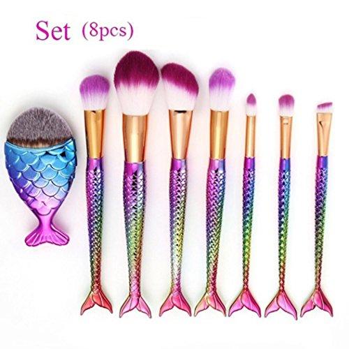 ESAILQ Ensemble de brosses de maquillage 8 Pièces Pinceaux Maquillage Brosse à maquillage en forme de sirène 3D Brosses à cosmétiques Ombre à paupières Eyeliner Blush Brushes (Multicolore)