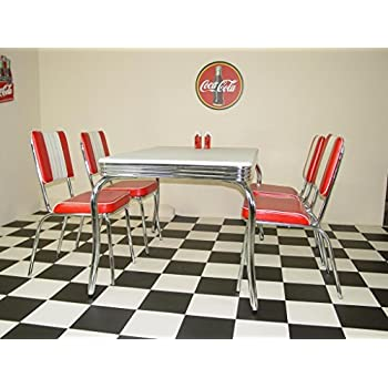 Just-Americana.com American 50s Diner Furniture Budget Retro Style 4 Legged Table and 4 Red Chairs