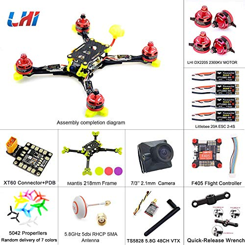 LHI 218mm Mantis218 2019 Neueste Race Quad ARF 218mm Carbon Rahmen + Omnibus F4 V5 Flugregler DX2205 2300KV Motor + Littlebee 20A ESC FPV Quadcopter Upgrade Version 220