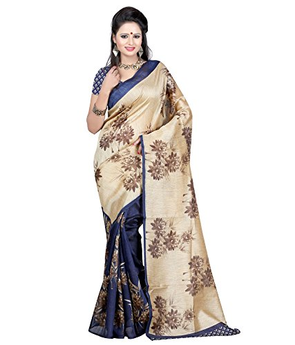 Sarees (Woman`s Clothing Saree For Woman Latest Desigen Wear Sarees Collection In Blue-Color Bhagalpuri Silk Material Latest Sarees With Designer Blouuse Free Size Beautiful Bollywood Sarees For Woman