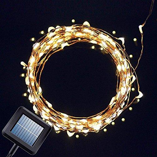 33FT (10m) 100er Solar Lichterkette Warmweiß Außenlichterkette IP65 Wasserdicht (Warmweiß 10m100er)
